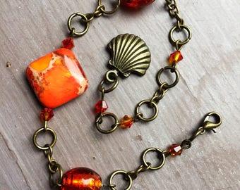 Orange boho bracelet, bohemian bracelet, semi precious bracelet, crystal bracelet, chain bracelet, gift for her, boho chic bracelet