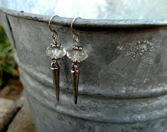 Earrings - Crystal & Silver Spikes