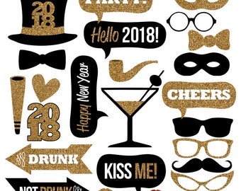 2018 New Year's Eve Photo Booth Props Collection–Printable Instant Download–Black & Gold Glitter Photo Booth Props for New Year's Eve Party