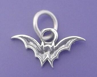 BAT Charm .925 Sterling Silver Vampire Bat, Halloween Small - f4985
