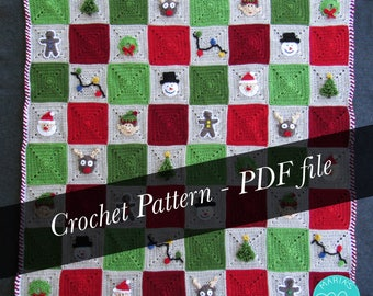 Crochet Pattern - Christmas Blanket - Granny Square Afghan Throw - CROCHET PATTERN PDF