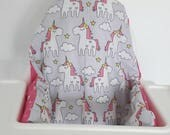 Antilop IKEA highchair cushion cover - cushion cover only - unicorn and pink star fabric cushion cover - girl highchair cover- MADE to ORDER