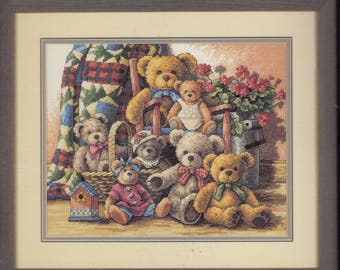 Teddy Bear Gathering Counted Cross Stitch Kit ~ The Gold Collection Dimensions  35115