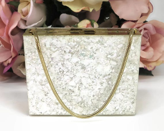Vintage white Lucite and gold metal case for cosmetics and cigarettes, Schick, New York, small, snake chain handle, unusual, 1950s