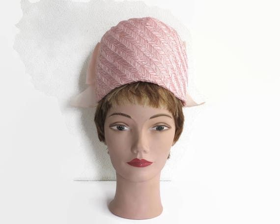 Pink pillbox hat, high hat, woven straw and chiffon, huge back bow and chiffon ruffles on top, sits high on head, Marcha, mid 20th century