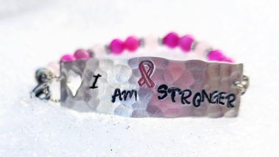 I Am Stronger - Cancer Awareness Stamped Metal Mantra Bracelet with Healing Gemstones