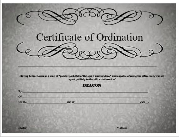 Deacon ordination certificate for Deacon ordination certificate template