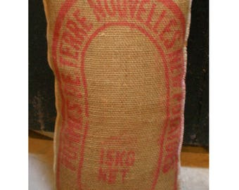 Hessian Recycled Potato Sack Soft Scatter Cushion Pillow Burlap Hemp Home Decor Printed Over locked Edges
