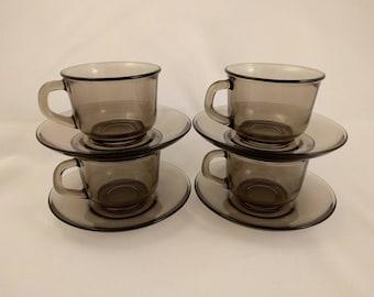 Vintage Arcoroc Smoked Glass Espresso Cups