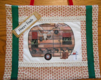 Fabric Wall Hanging with Western Vintage Trailer Art Block Print