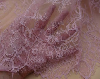 Chantilly lace fabric sold by yard,Dusty rose lace fabric,wedding Lace fabric,150cm Eyelash lace for dress