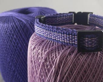 Breakaway Cat Collar - Handwoven; Safety buckle; Adjustable - Lilac purple; Optional tag