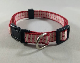 Cat Collar - Handwoven; Adjustable; Breakaway safety buckle; pink, white, red; Optional tag