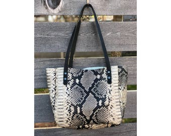 Limited Edition SMALL TOTE Python Embossed • Printed Leather Everyday Bag