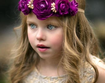 30% OFF Gold Purple Flower Crown Tieback Headband  - Boho - Flower Crown - Bohemian - Toddler - Adult - Wedding - Bridal - Flower Girl - Pho