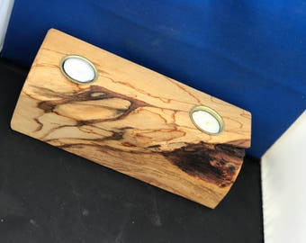 Reclaimed Wooden tealight candle holder with two tealights, made from Scottish beechwood.