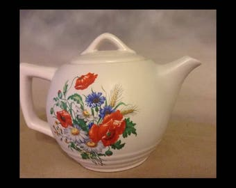 Vintage McCoy tea pot white with wild poppies and yellow and blue wild flowers