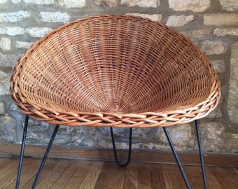 Mid Century CHAIRS x 2 Wicker Cone C8 Chairs Terence Conran Heals Habitat Vintage 1950's