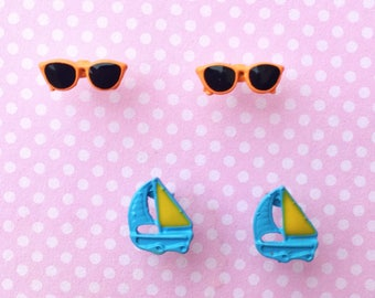 "Fun In The Sun Collection ""Sail the Summer Sea"" Dainty Minimalist Orange Sunglasses and Sailboat Earring Set - Summer Earrings Minimal"