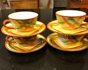 Vintage Metlox VernonWare Homespun Cups & Saucers - Set 0f 4