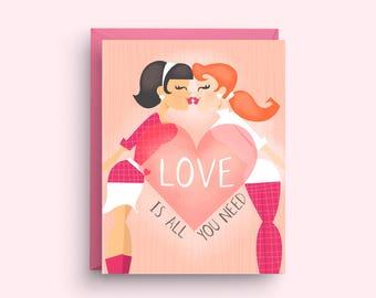 LGBT Valentine Card, Lesbian Wedding Card, Gay Engagement Card, Card for Gay Wedding, Card for Bride, Gay Wedding Shower
