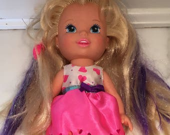 Tyco Doll with Purple Hi lights and barrette 80s