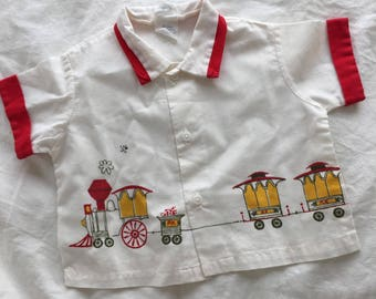 Vintage/retro baby/toddler shirt with train motif. Size 6-12 months.