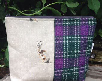 Harris tweed purple check hare fabric wash bag cosmetic bag toiletries bag