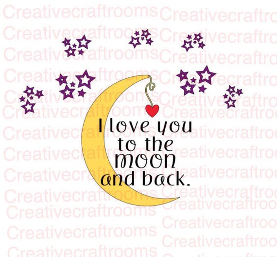 I love you to the moon and back PNG, I love you to the moon PNG, Png, Cricut PNG, Print and Cut File, Digital download