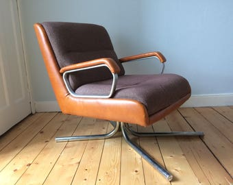 Danish Modern Mid Century 1970's Steel and Leather Easy Chair Armchair