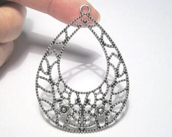 50% OFF Clearance Sale-- Large Antique Silver Filigree Teardrop Charm Pendants 57mm Earring Drop