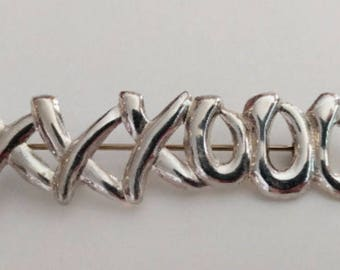 Vintage Sterling Silver XXXOOO Hugs and Kisses Brooch Pin