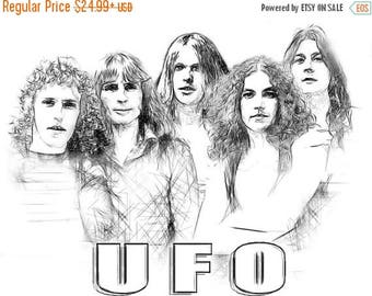 40% OFF Sale UFO Band drawing T shirt Michael Schenker Group Pete Way Scorpions Uriah Heepare available