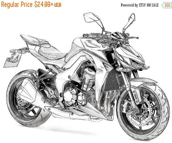 40 off sale kawasaki z1000 drawing t shirt i can draw your. Black Bedroom Furniture Sets. Home Design Ideas