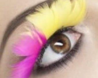 Huge Pink & Yellow real feather fake eyelashes