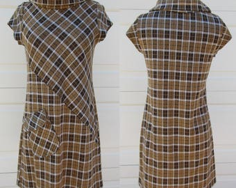 90s Brown Plaid Scooter Anon Amie Polyester Rayon Knit Plaid Dress Casual and Cute Sz Lg
