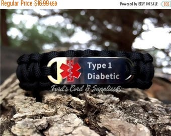 CIJ SALE Type 1 Diabetic Medical Alert Bracelet, Paracord Bracelet, Survival Bracelet with Laser Engraved Stainless Steel Tag