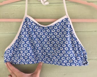 90's Flowered Blue and White Daisy Halter Swim Top