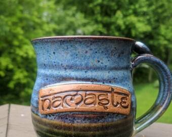 Namaste Yoga Coffee Tea Mug for the yogi you love.  Meditation Mantra Stoneware Pottery Clay Cup