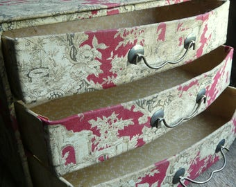 antique French fabric toile de jouy box cabinet chest with drawers