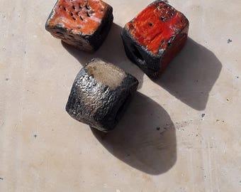 three beads raku ceramic orange and beige
