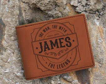 Personalized-The Man-The Myth-The Legend-Leatherette Wallet-Engraved Bifold Wallet-Rawhide Wallet