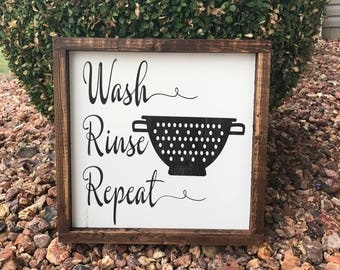 READY TO SHIP| Wash Rinse Repeat Wood Sign | Wood Sign for Home | Wood Signs | Kitchen Signs | Home Decor |