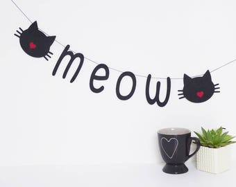 Cat meow garland, banner, kitty birthday, home decor, hen party, gift