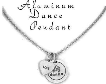 Stamped Aluminum Necklace Love To Dance Ballet Jewelry Gift For Dancer Ballet Slipper Pendant, Gifts For Her Gifts Under 20