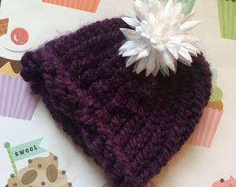 Purple Baby Hat with White Flower