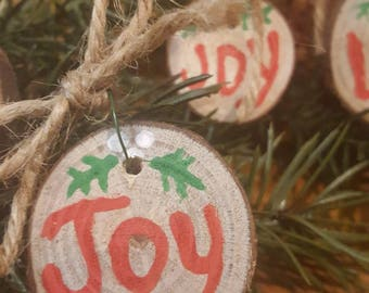 Christmas Ornament, Wooden Ornament, Rustic Ornament, Handmade Ornament, Love, Joy,