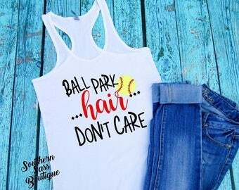 Ballpark hair, Softball mom, Baseball mom, Softball shirt, Baseball shirt, Softball, Baseball, Ballpark shirt, Softball tank, Baseball Tank