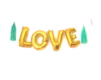 """Giant LOVE  Gold foil balloon  16""""  gold  wedding decoration fun glamour party surprise"""
