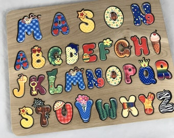 Wooden Name Puzzle with Whimsical Alphabet and Engraved Back, Alphabet puzzle, Wooden puzzle with name, Child's name puzzle, Personalized
